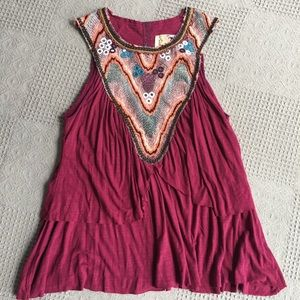 Free People Boho Flowy Tiered Embellished Tunic